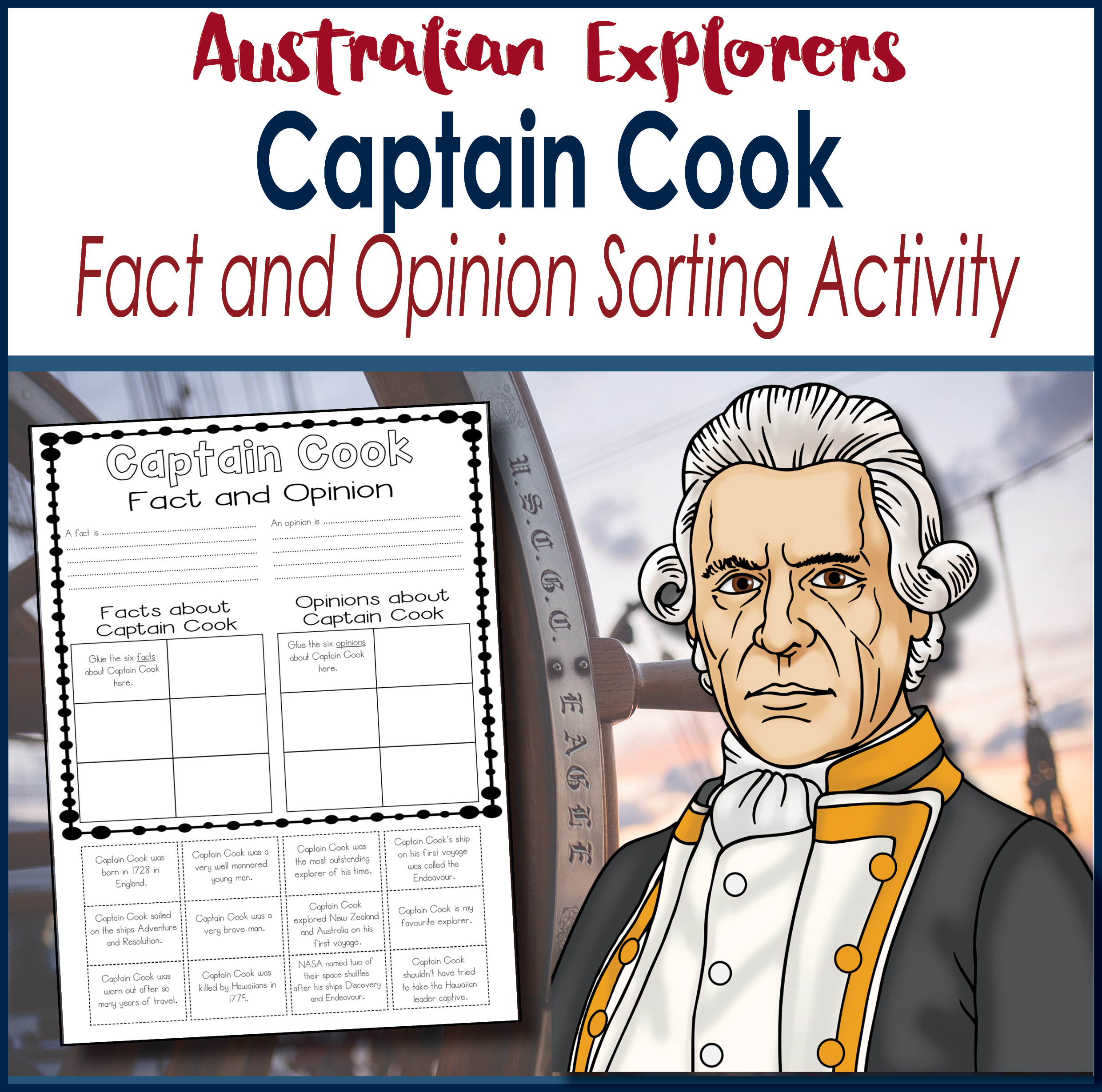 Captain Cook Fact and Opinion Sorting Activity