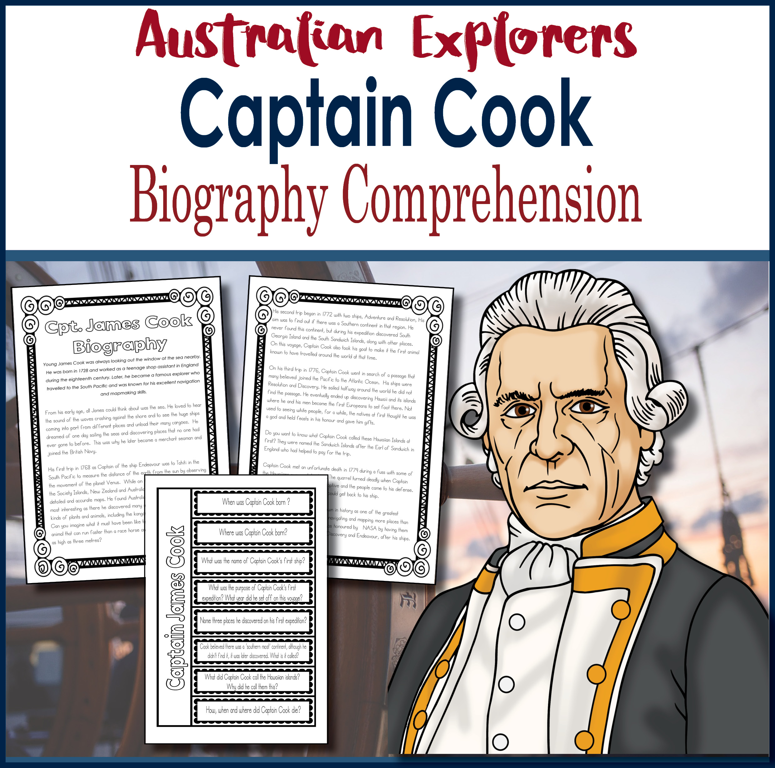 Captain Cook Biography Comprehension Activity