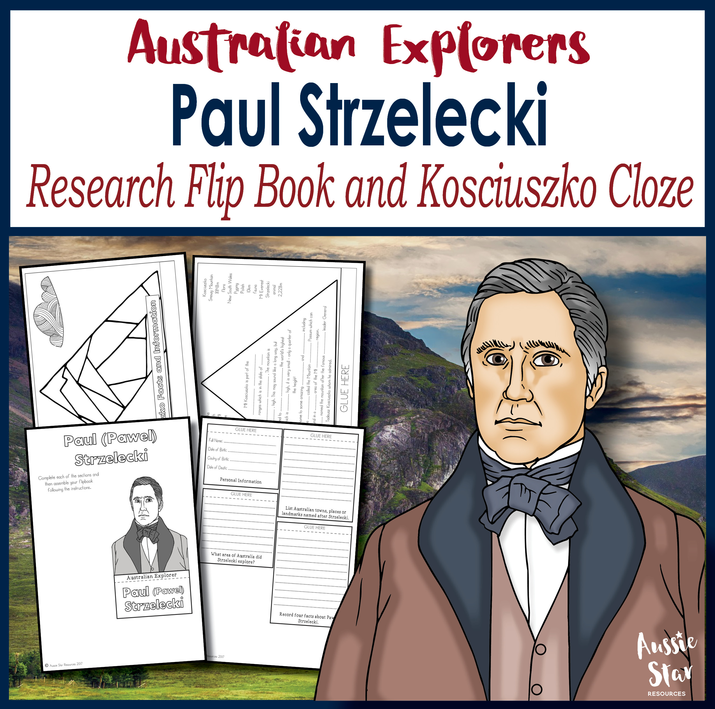 Paul Strzelecki research flip book Mt Kosciuszko cloze