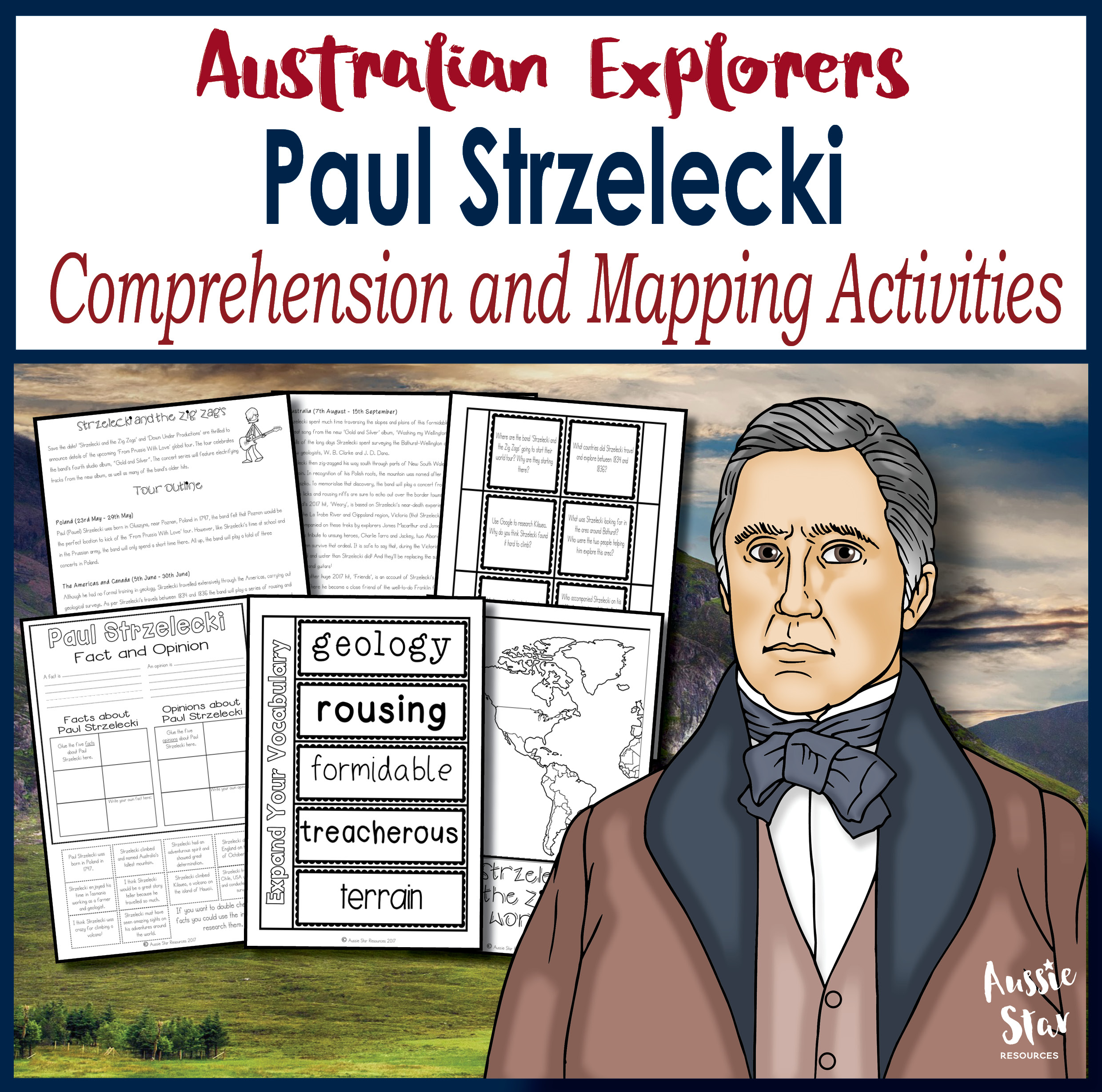 Paul Strzelecki comprehension activity pack