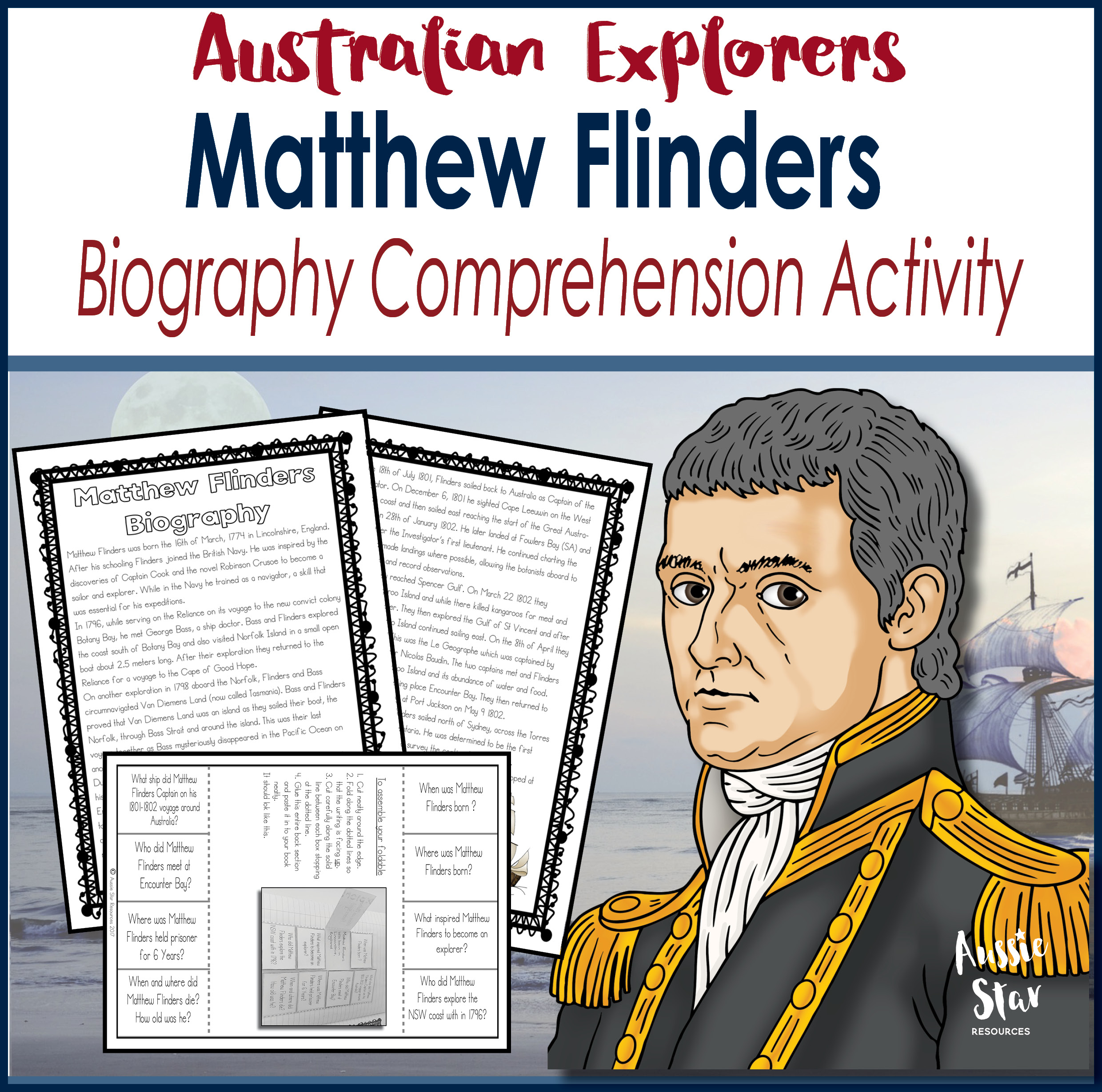 Matthew Flinders biography comprehension activity