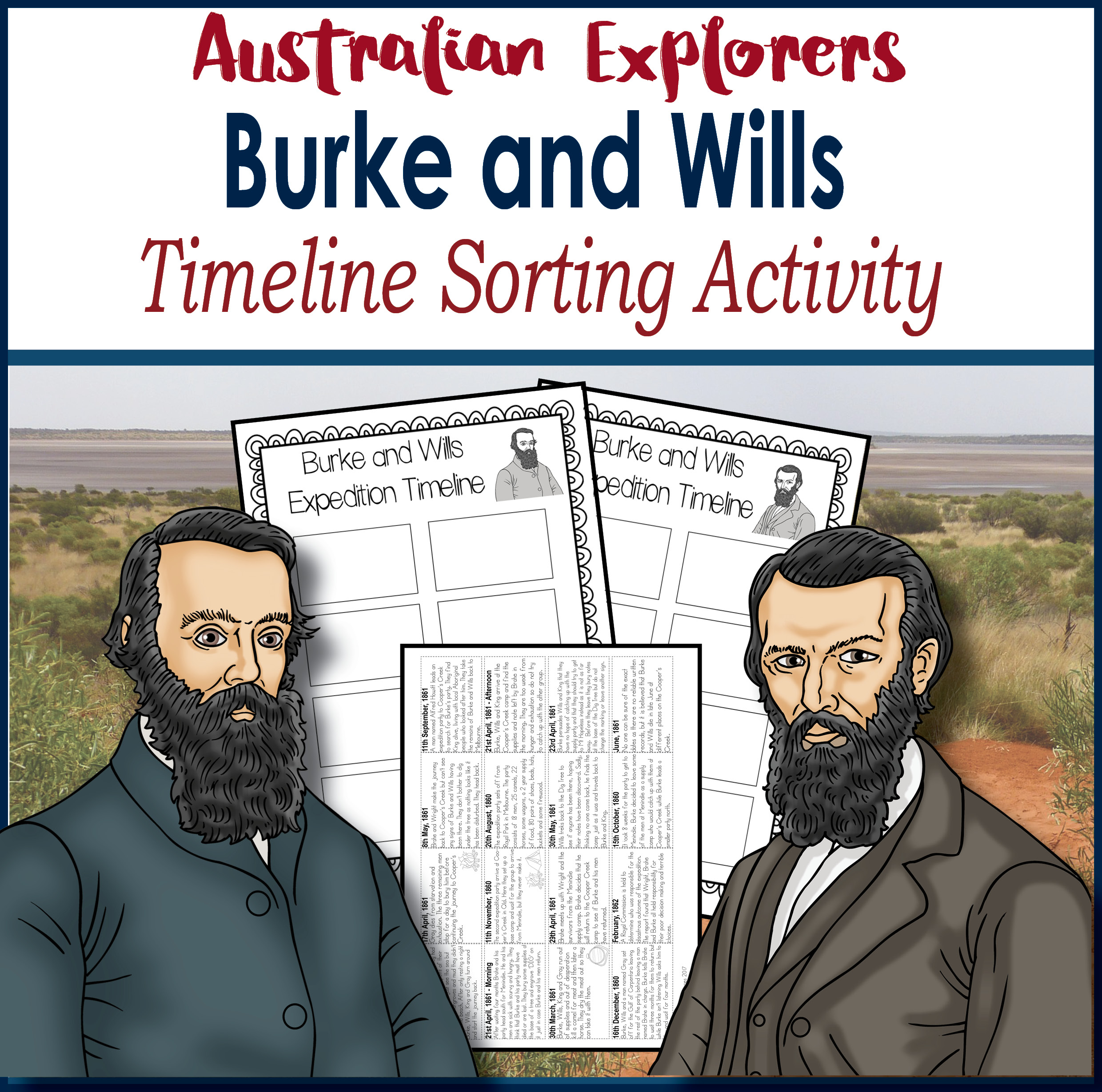 Burke and Wills timeline sorting activity cover