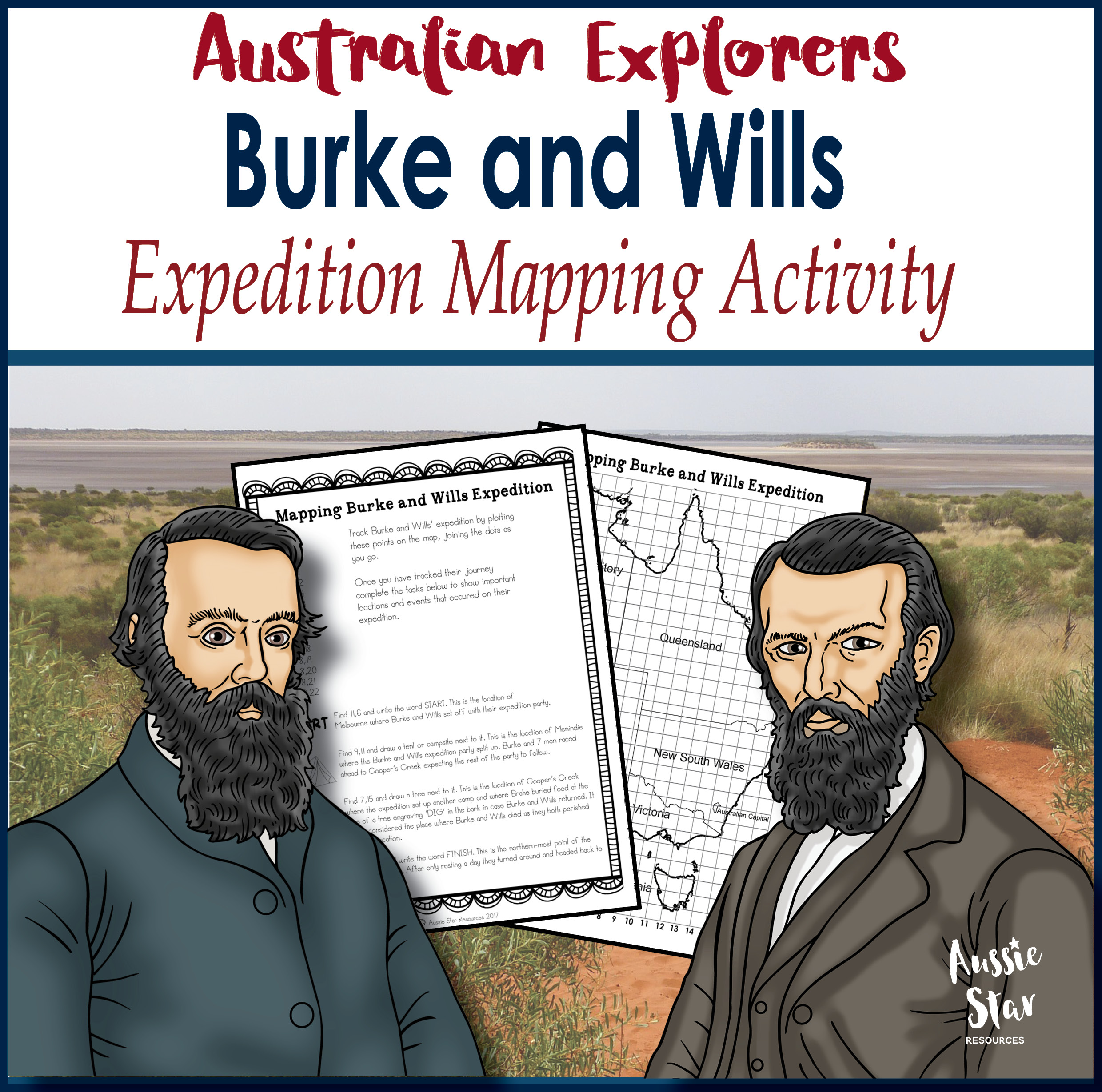 Burke and Wills expedition mapping activity cover