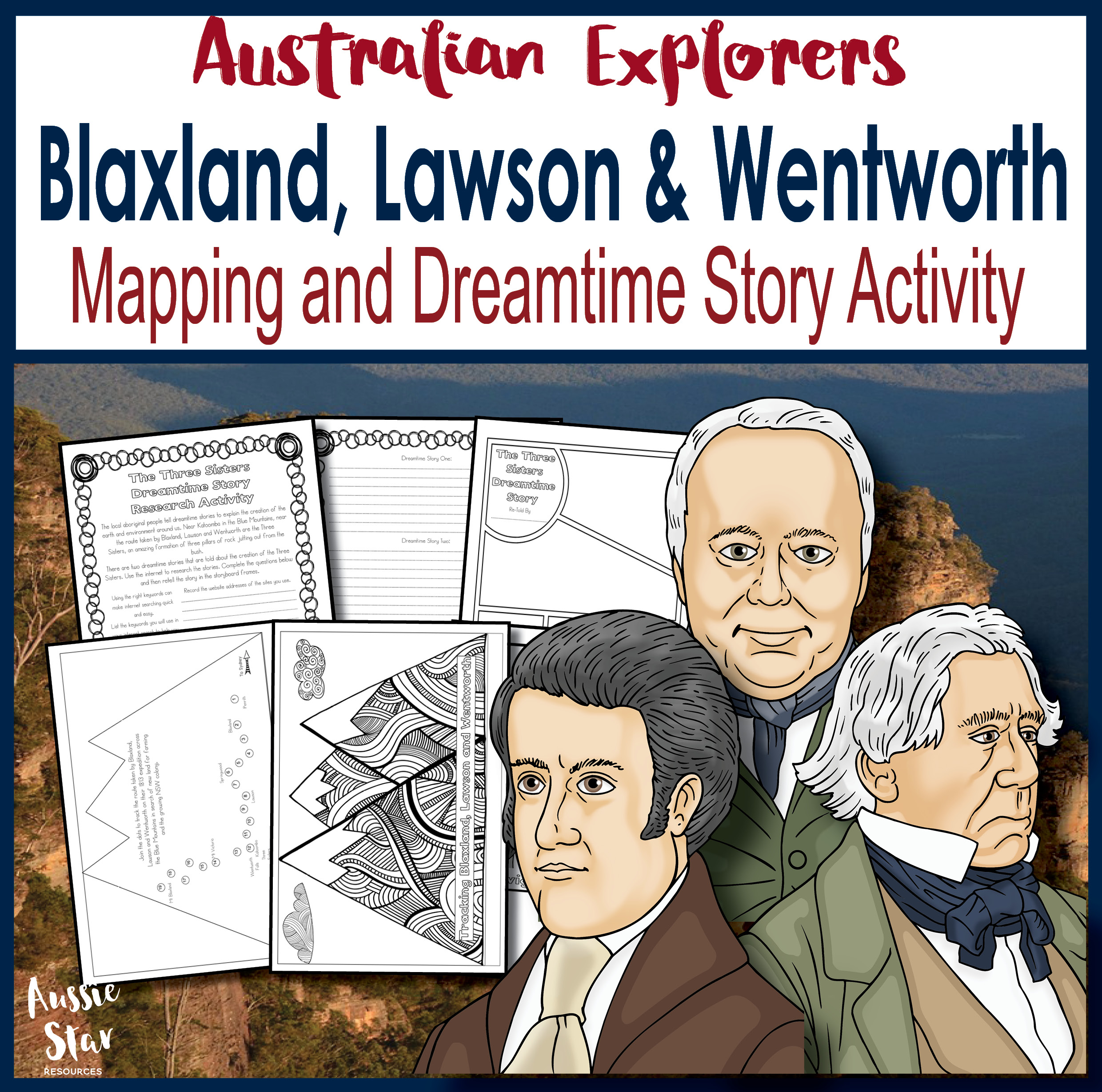 Blaxland, Lawson and Wentworth map and dreamtime story
