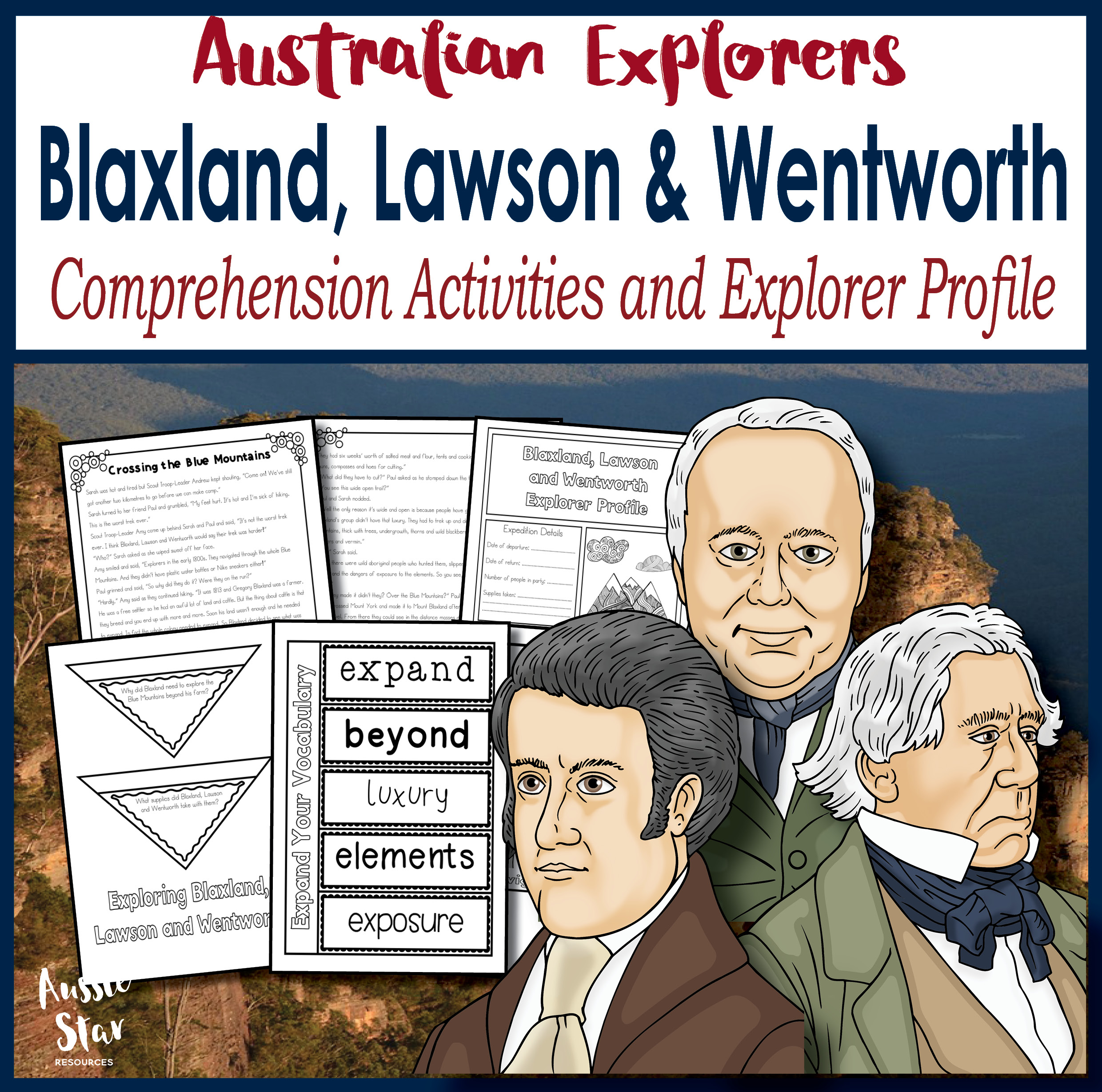 Blaxland, Lawson and Wentworth comprehension activities cover