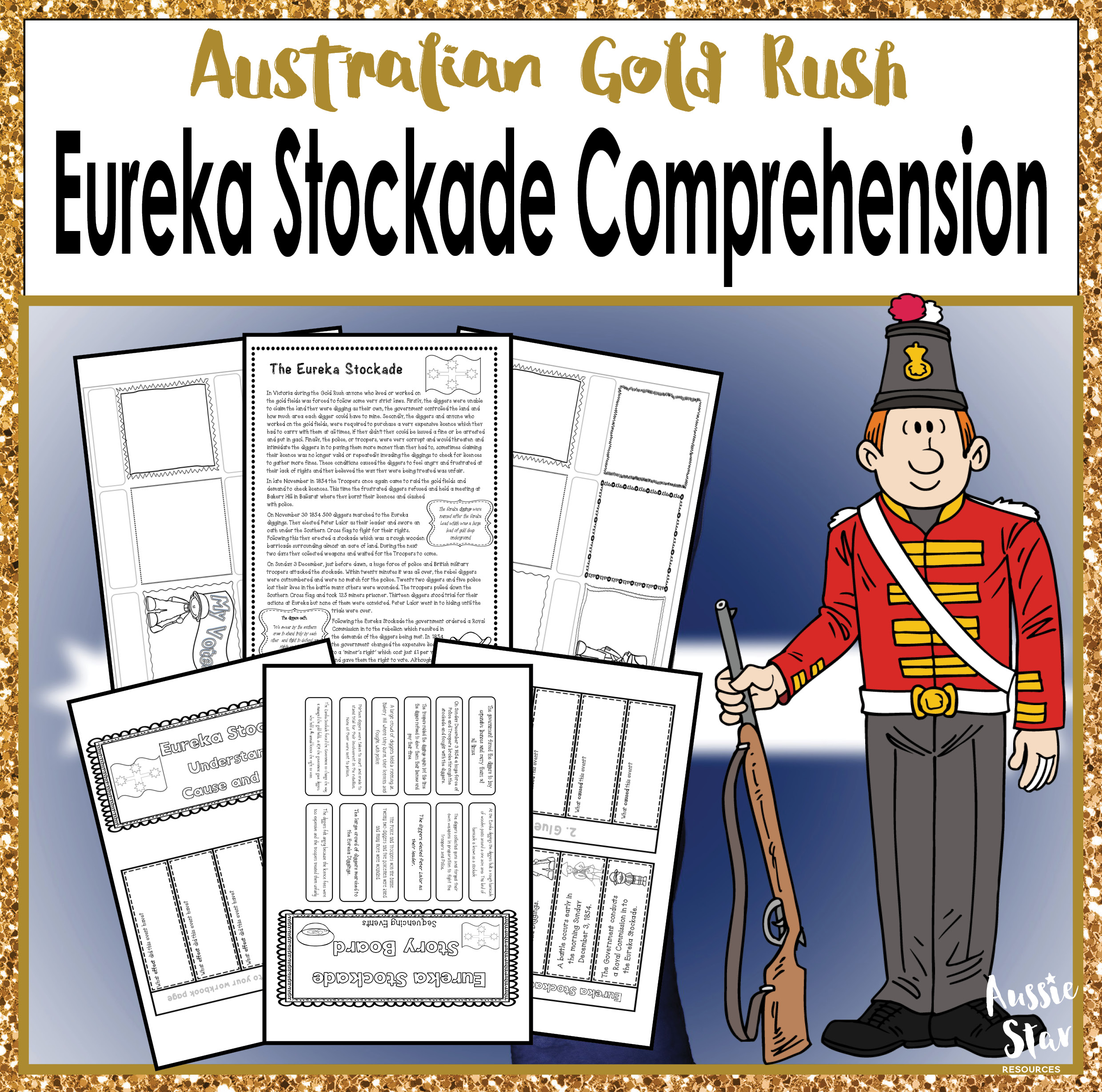 Australian Gold Rush Eureka Stockade Comprehension Activities