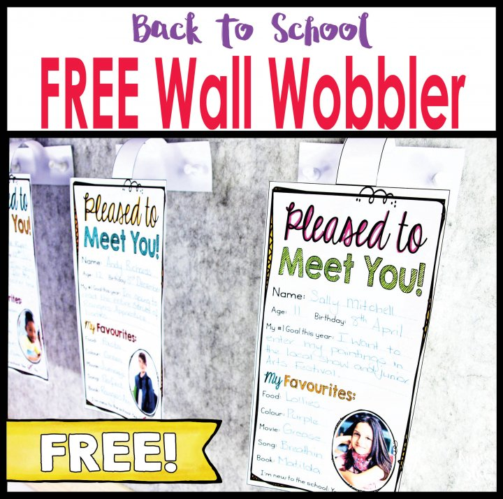 Back to school first day activity wall wobbler