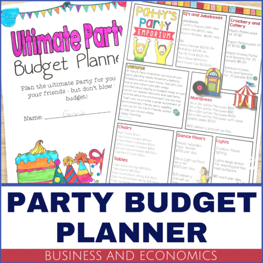 Year 5 HASS Business and Economics Party Budget Planner