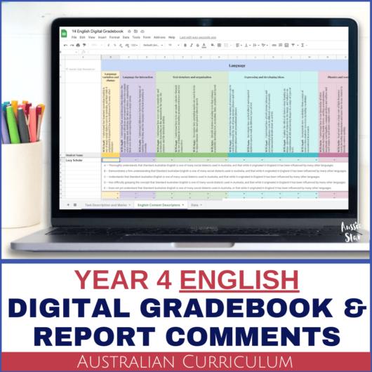 Grade 4 Australian Curriculum English Digital Gradebook