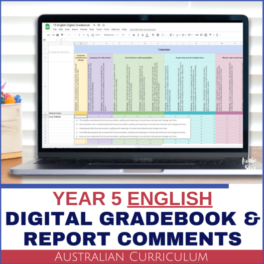 Grade 5 Australian Curriculum English Digital Gradebook