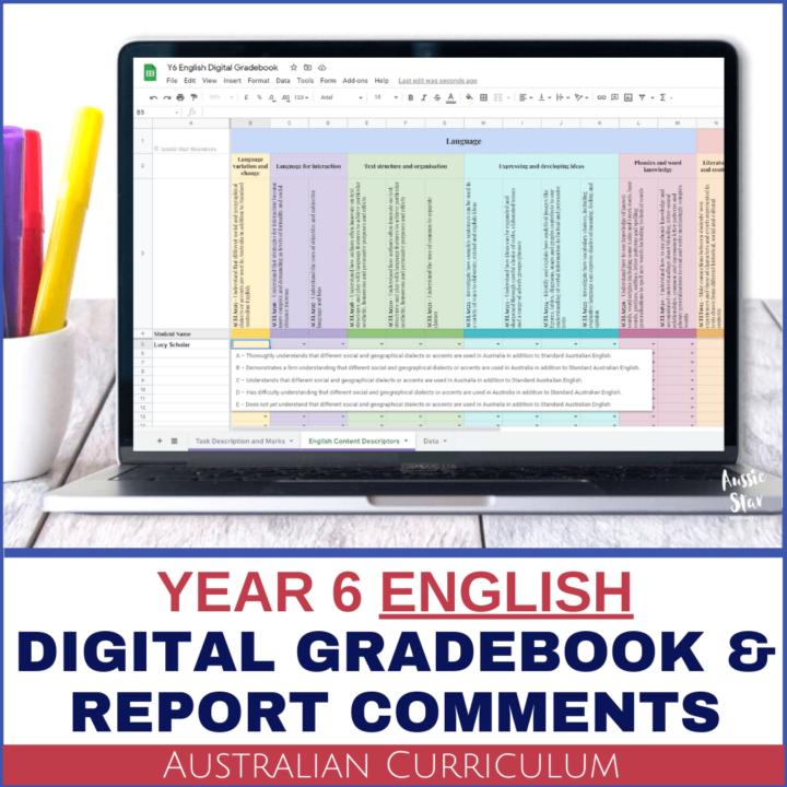Grade 6 Australian Curriculum English Digital Gradebook